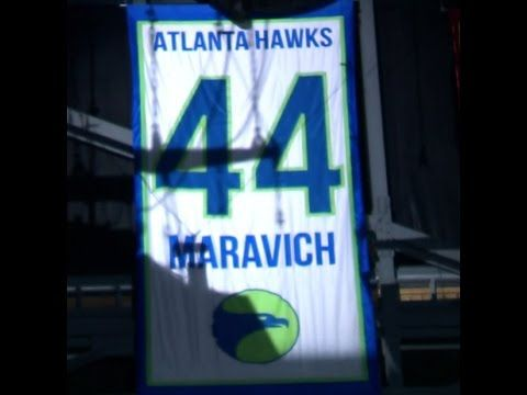 Atlanta Hawks great Pete Maravich had his number 44 jersey retired and hung in the rafters at Philips Arena.