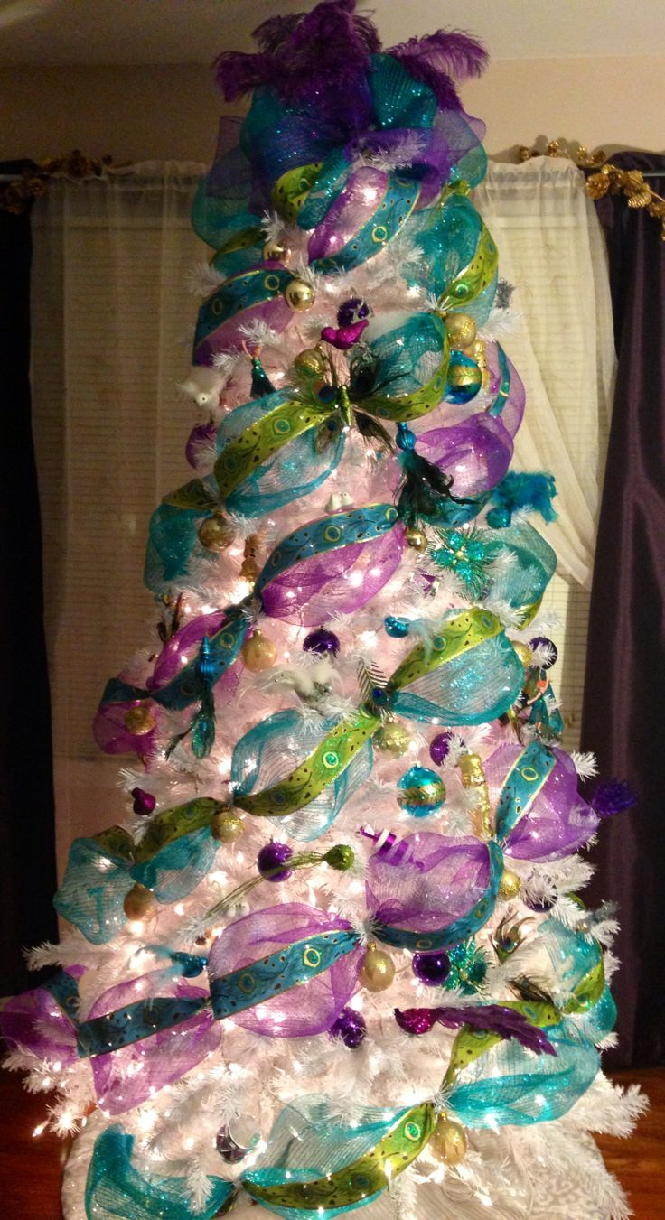 White christmas tree with purple and blue decorations - My Peacock Deco Mesh Turquoise And Purple Christmas Tree