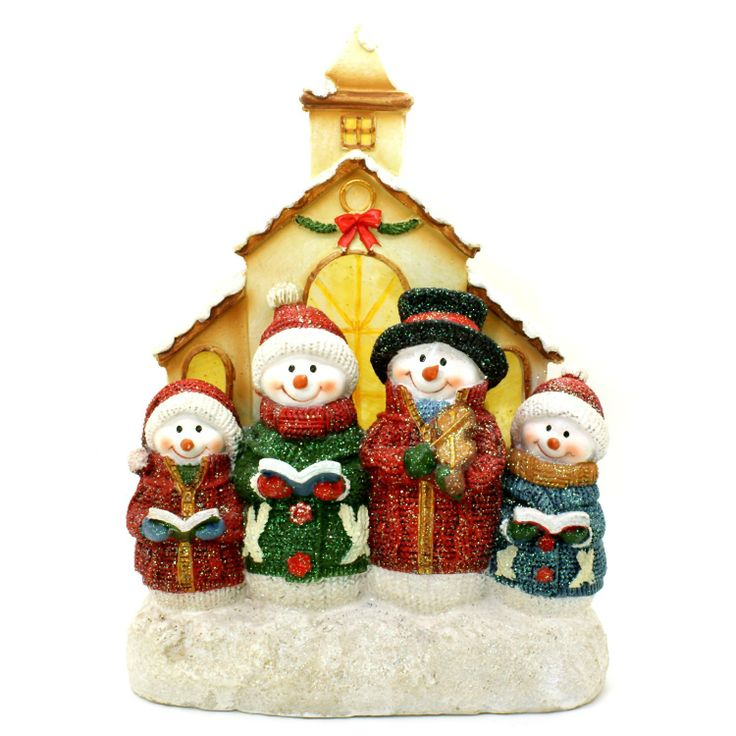 Christmas Caroling Family Set Of 4: TII Collections Knitted Snowman Family LED Light Christmas