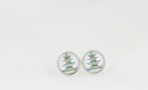Christmas Tree Stud Earrings - 12mm Stud Earrings - Xmas Earrings - Gift for Her - Cute Earrings - Holiday Earrings - Christmas Jewelry