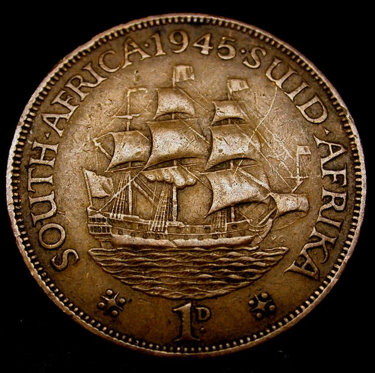 1945 South Africa 1 Cent Tall Ship Coin In Great Shape Kings Among Coins Pinterest Rare