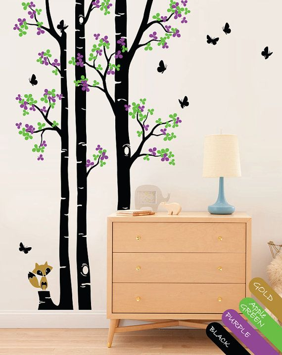 Large set of tree wall decals with cute fox wall stickers for Baby name decoration ideas