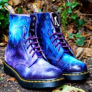 Here we have a pair of Gothic style, galaxy cosmic print dr martens Yes, your eyes are not deceiving you! They are NEW and the original made in England Dr Martens made to order. Lovingly Hand-painted by myself. A mixture of a range of cool space blues ...