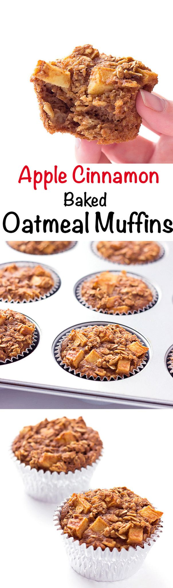 Apple Cinnamon Baked Oatmeal Muffins - Cinnamon apple to-go baked oatmeal cups.   A perfect make ahead breakfast and grab and go breakfast!