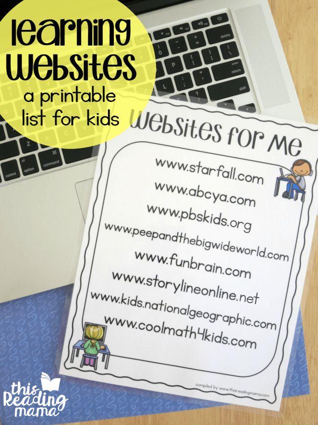 FREE Printable Learning Websites List for Kids
