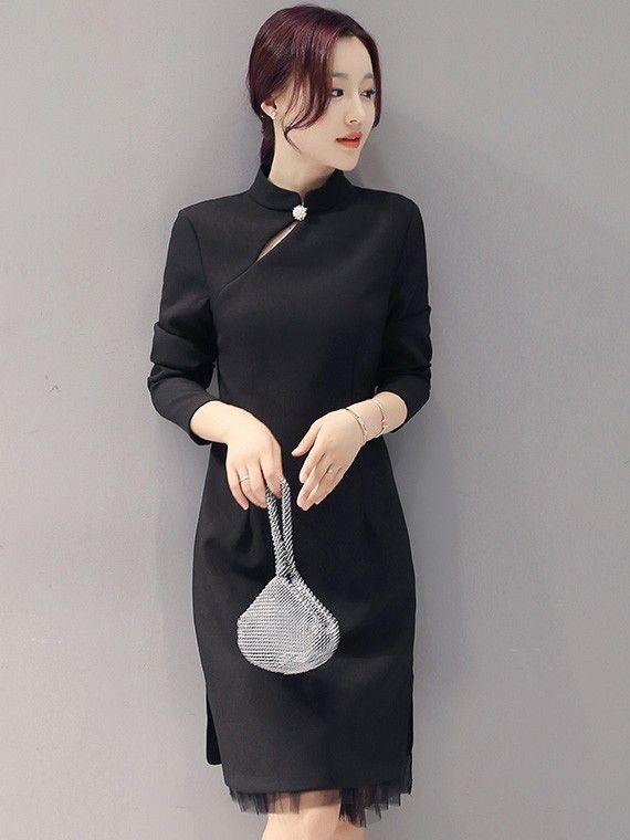 Midi Qipao / Cheongsam Dress with Long Sleeves for Winter ...