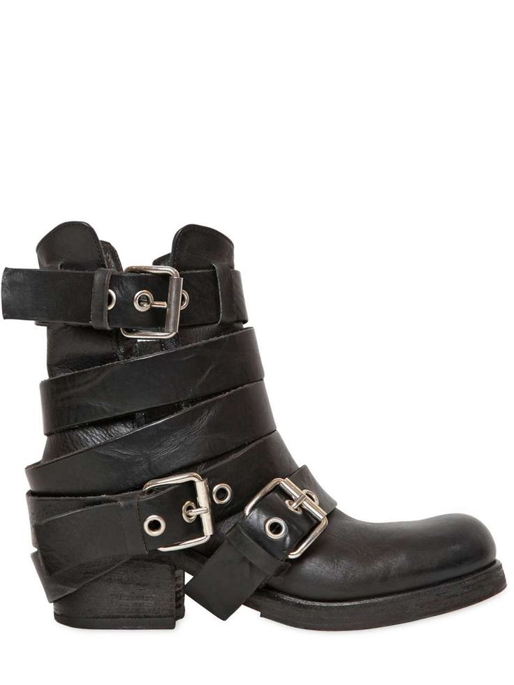 Love the LUISAVIAROMA 50MM BELTED LEATHER BIKER BOOTS on Wantering | In Those Boots | womens black leather biker boots | womens shoes | womens style | womenswear | womens fashion | wanteringa http://www.wantering.com/womens-clothing-item/50mm-belted-leather-biker-boots/agEDV/