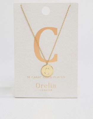 """Orelia - Collana placcata oro con iniziale """"C"""""""