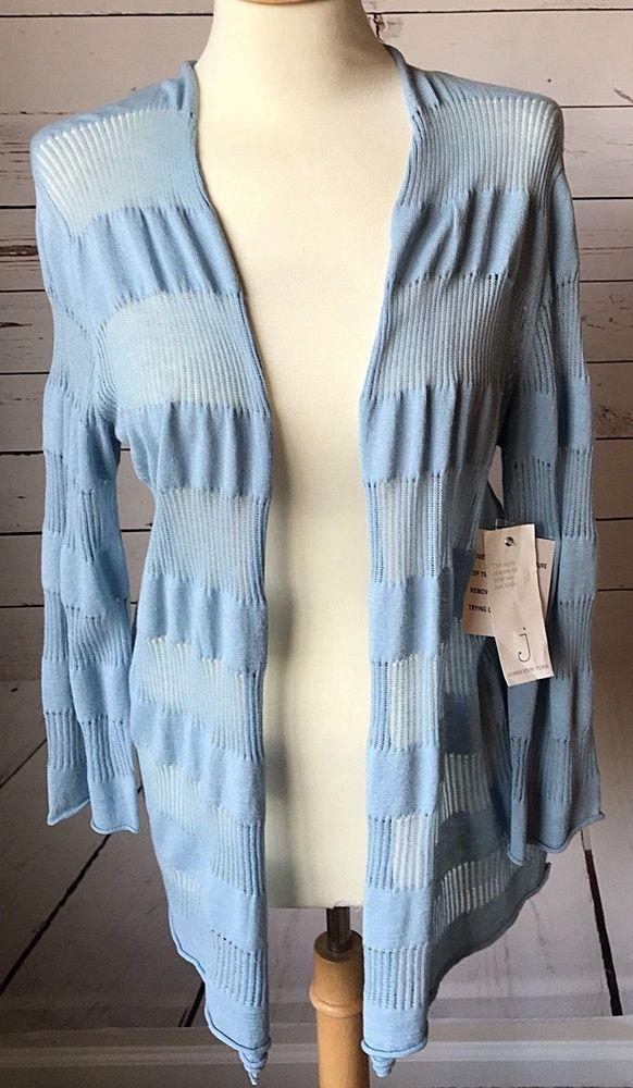 99616490dcf Jones New York open front cardigan linen medium light blue lightweight thin  NWT  JonesNewYork