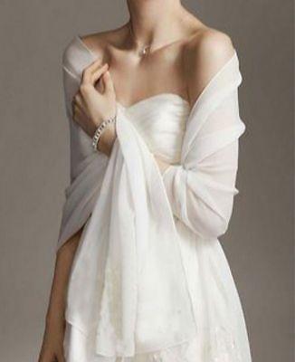White/Ivory chiffon bridal wrap wedding shawl scarf cover up long shrug stole