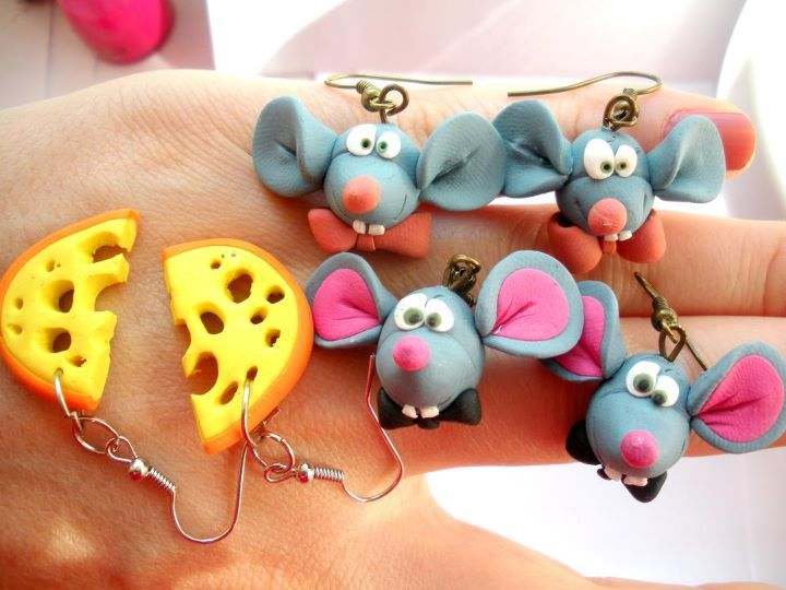 polymer clay earrings...cheese and mices earrings