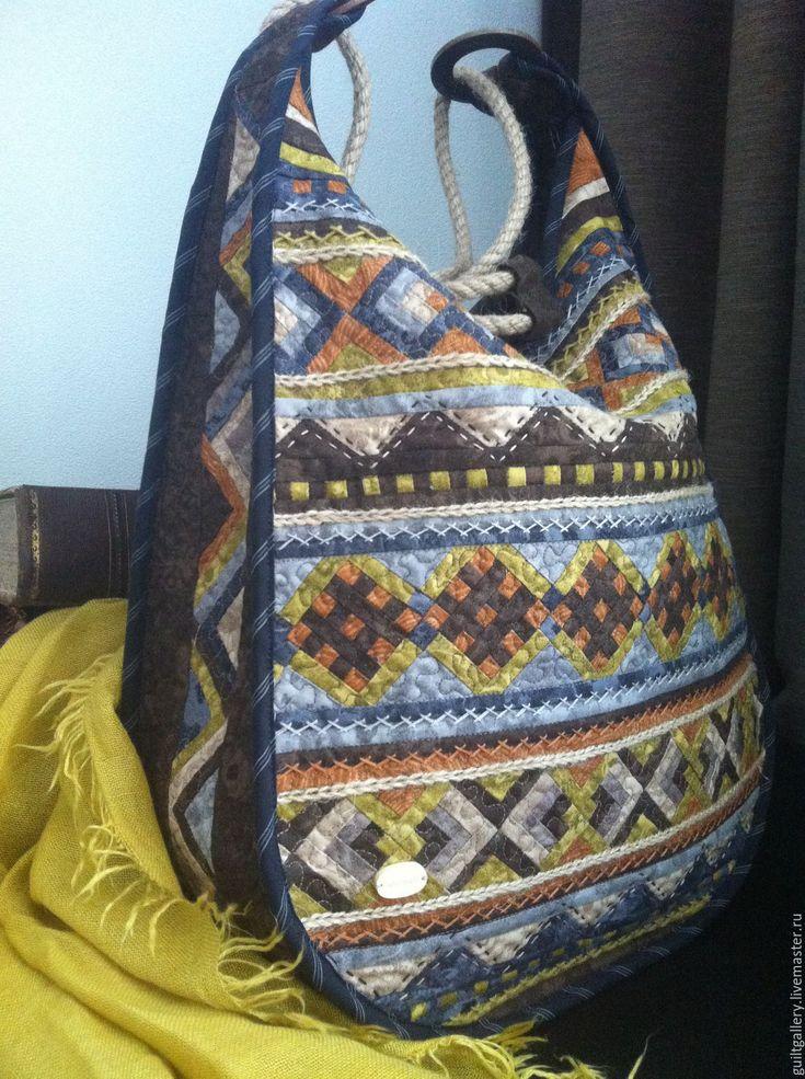 """Купить """" Хлоя """" лоскутная сумка. - комбинированный, орнамент, серый, оливковый, коричневый, терракотовый"""