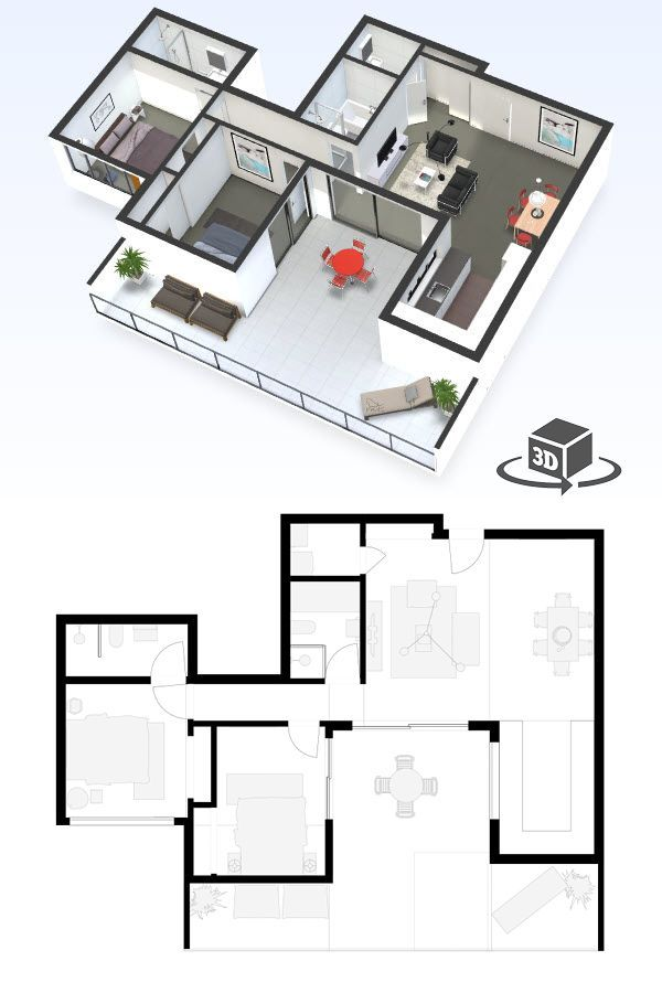 2 Bedroom Apartment Floor Plan In Interactive 3d Get Your Own 3d Model Today At Http Planto3d Penthouse Apartment Floor Plan Condo Floor Plans House Layouts