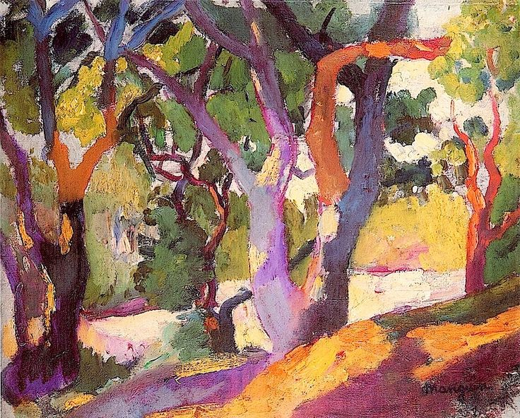 Small Cork Trees (1906) / Henri Manguin was a French painter, associated with Les Fauves. Manguin entered the École des Beaux-Arts to study under Gustave Moreau, as did Matisse and Charles Camoin with whom he became close friends.