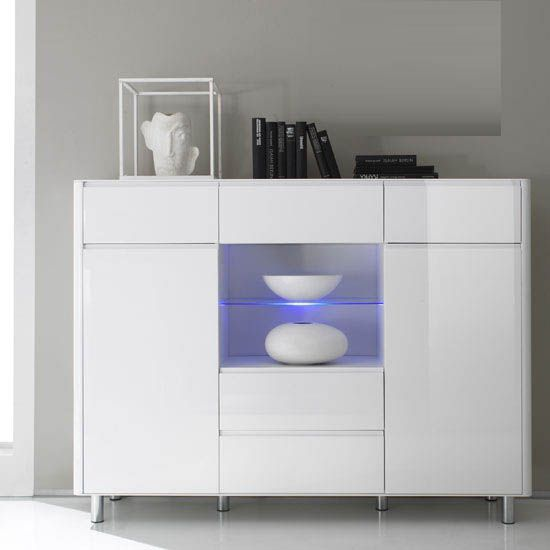Berwick White High Gloss 2 Door Display Sideboard With Led Light Furniture Doors
