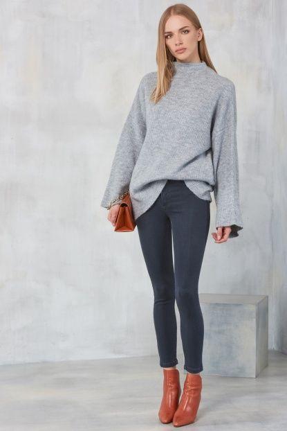 Gri Yüksek Bel Skinny Kadın Jean