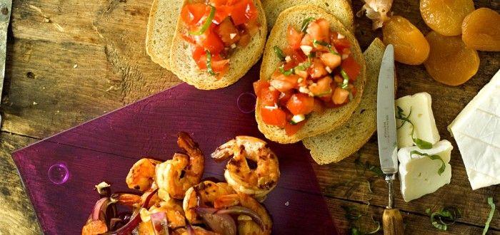 scampi, tomatsalat, brie
