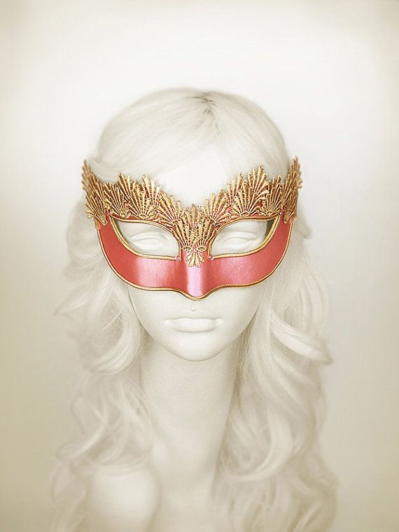 Pink & Gold Lace Masquerade Mask  Venetian Style by SOFFITTA