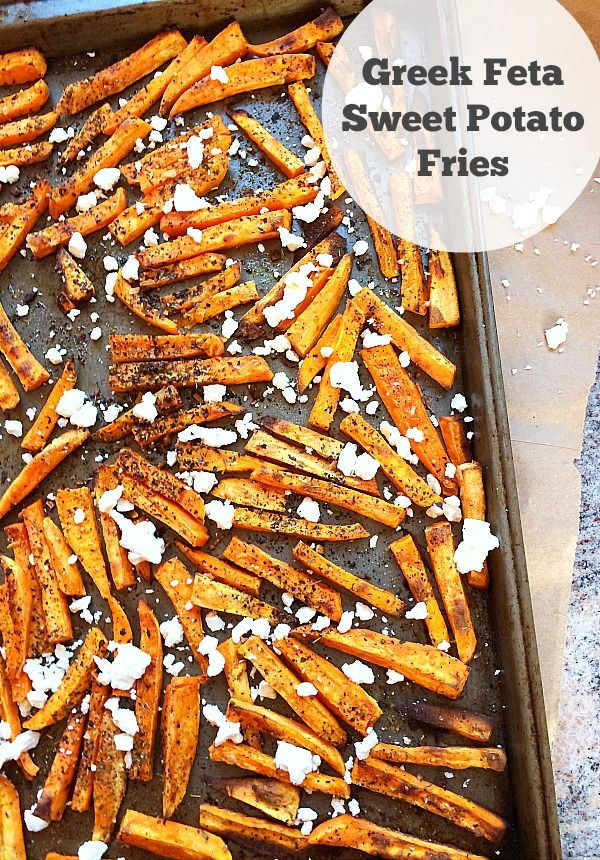 Greek Feta Sweet Potato Fries~Super easy and delicious side dish!
