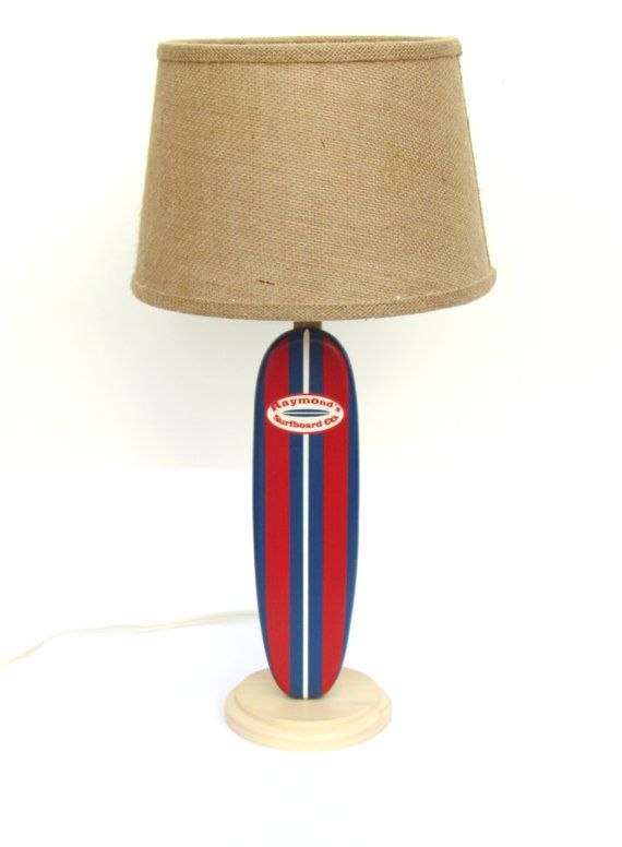 Personalized Kids Surfboard Lamp Nautical Themed