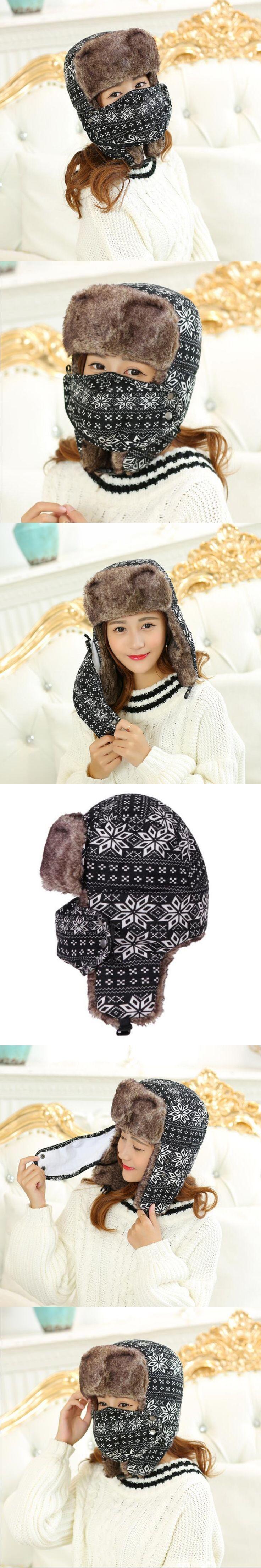 HT534 Winter Mask Bomber Hat Snow Flowers Russian Ushanka Hat Earflap Russian Fur Hat Classic Trapper Hats for Women