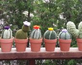 """Handmade, crocheted CACTUS in 3 1/8"""" Terra Cotta pot with Moss Soil. These realistic cacti mimic an assortment of cactus and great ornamental plants. These will live forever, with NO need for water or care.  Image from left to right .. Lettuce Cactus, Thumbs Up Cactus, Cross Cactus, Two Paddle Cactus, Star Cactus, Dark Barrel Cactus, Light Barrel Cactus, Saguaro Cactus, Four Paddle Cactus"""