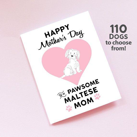 Maltese Mom Dog Mom Mothers Day Card Maltese Dog Mom Card Etsy Mom Cards Dog Mom Pet Mom