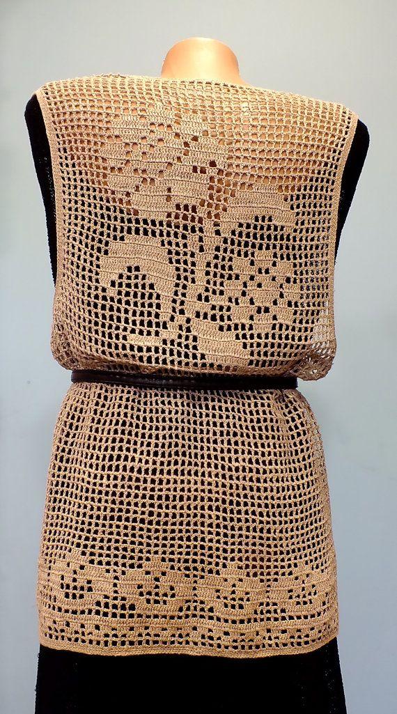 Boho Chic Filet Crochet chaleco largo rosas corazones motivo Natural lino Eco Wabi-sabi calado elegante Hippie