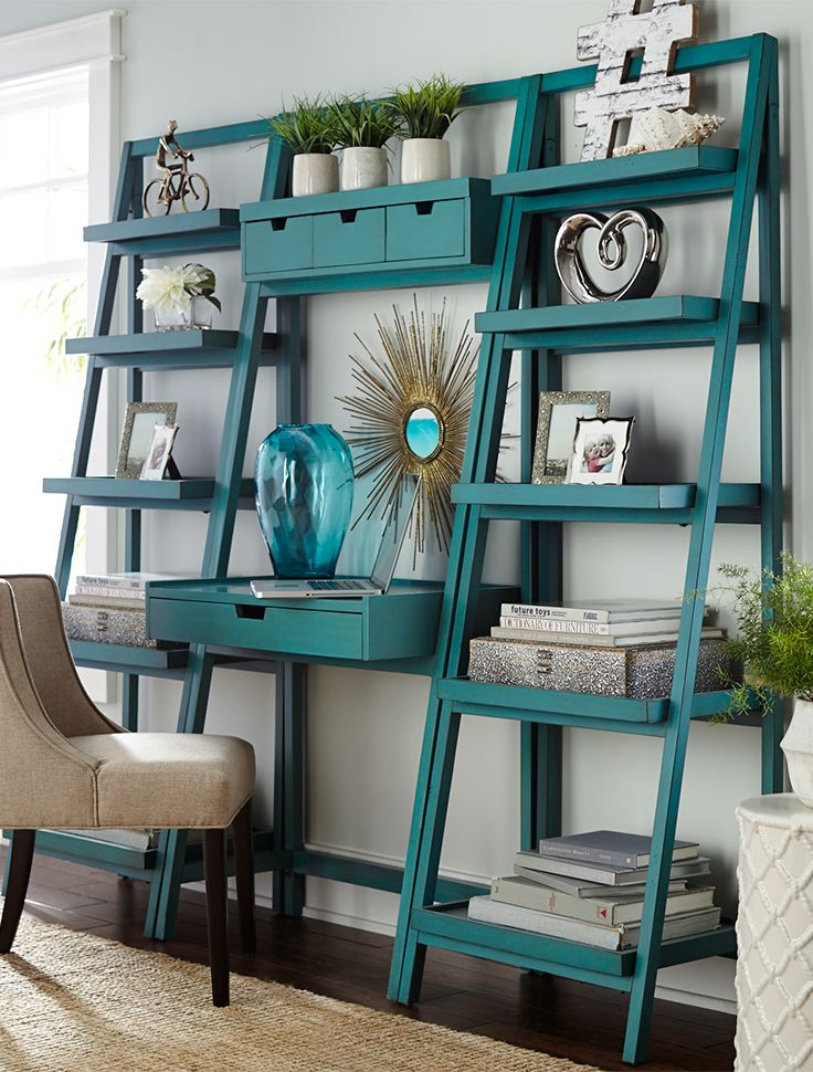 Pier 1's ladder-style Morgan shelf gives you lots of display and storage space in a clean, contemporary silhouette. Handcrafted of pine and engineered wood for durability and strength, it's finished with hand-applied color. Mix and match this modular collection with other Morgan pieces--like our Morgan Desk--to build the combination that works best for you.