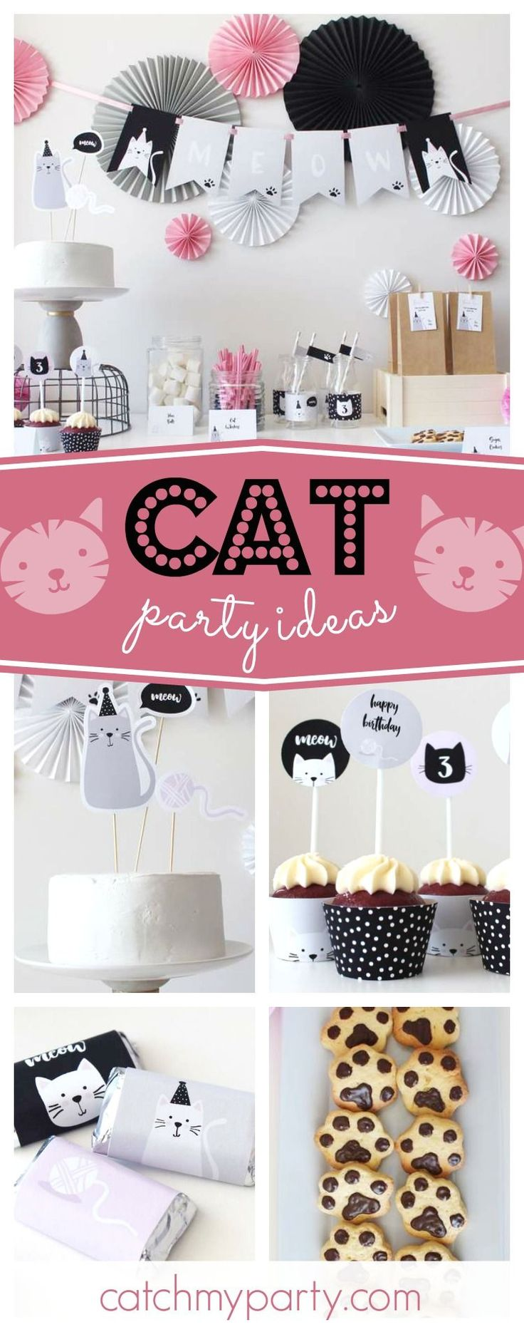 Don't miss this pur-fect modern cat birthday party! The paw cookies are adorable!! See more party ideas and share yours at CatchMyParty.com #cat #girlbirthday #CatParty
