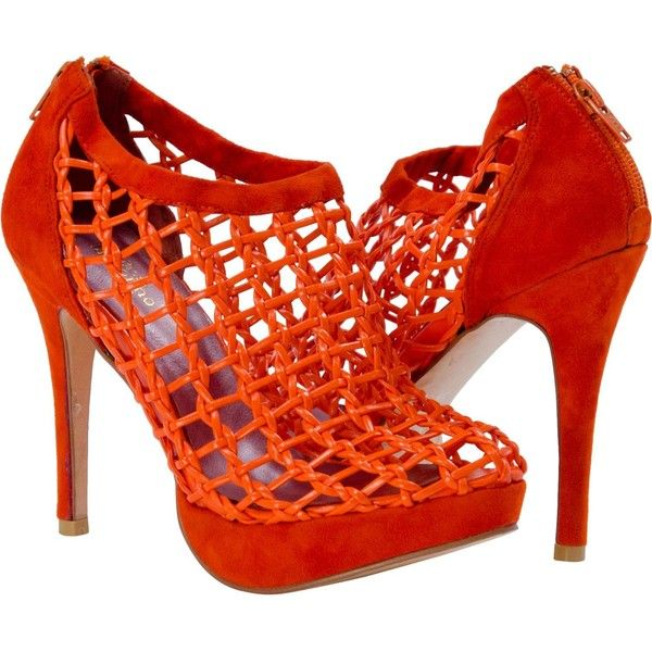 PAOLO IANTORNO Lena Orange Nappa Leather Caged Bootie ($279) ❤ liked on Polyvore featuring shoes, boots, ankle booties, heels, orange, ankle boots, platform boots, short boots, high heel ankle booties and sexy ankle boots