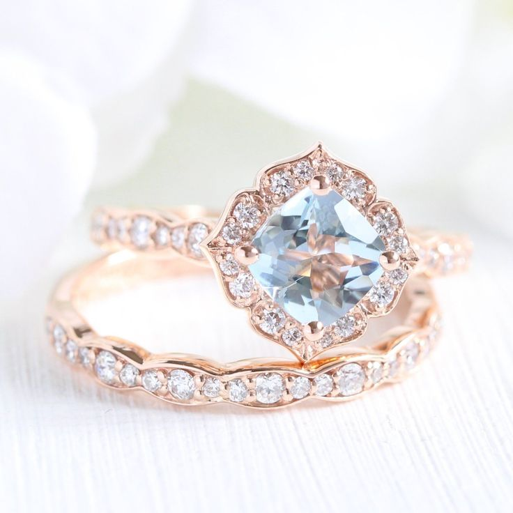 Mini Vintage Floral Bridal Set in Scalloped Band w/ Aquamarine and Diamond