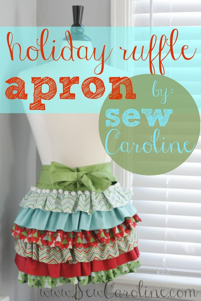 Easy holiday ruffle apron. Makes a wonderful gift for cooks everywhere. #sew #make #apron