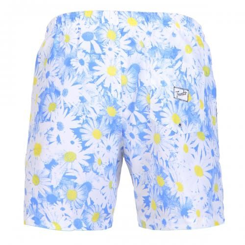 MID-LENGHT SWIM SHORTS WITH DAISY PRINT Polyester mid-lenght Boardshorts with all-over daisy print. Elastic waistband with adjustable drawstring. Back pocket with Frank's label detailing. Internal net. COMPOSITION: 100% POLYESTER.