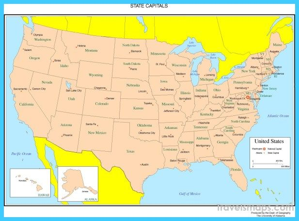 United States Map Showing States And Capitals Maps Of USA United