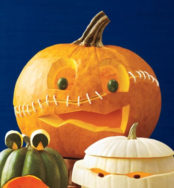 Cut Pumpkin In Half Use Toothpicks To Hold It Together
