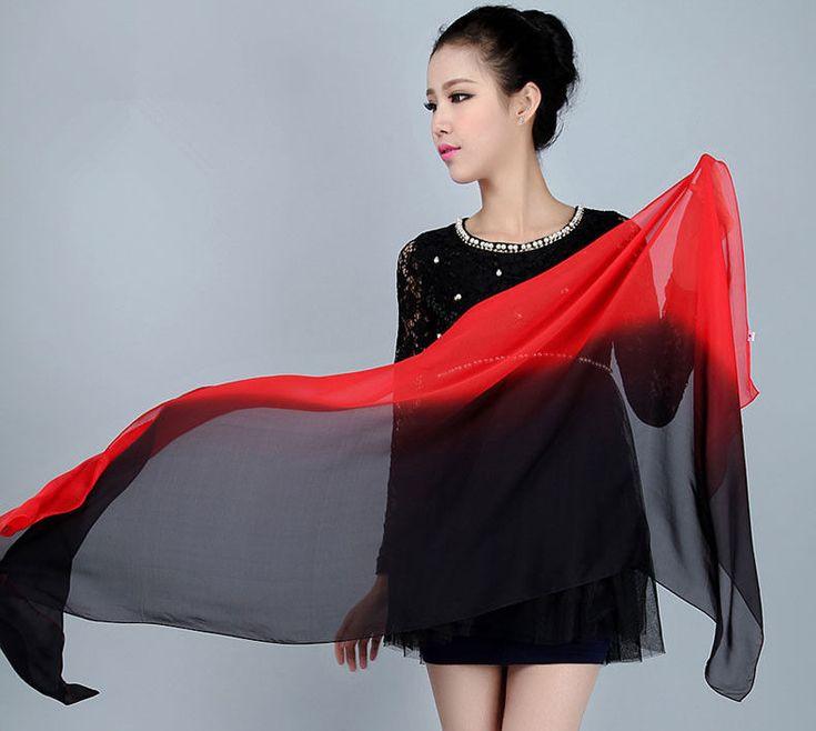 Black & Red Long Soft Women Fashion Chiffon Scarf Wrap Shawl Stole Scarves