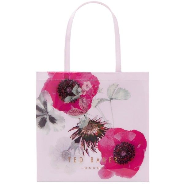 Ted Baker Dimacon Neon Poppy Large Icon Shopper Bag (195 PLN) ❤ liked on Polyvore featuring bags, handbags, tote bags, ted baker tote, man bag, pink handbags, shopping bag and shopping tote bags