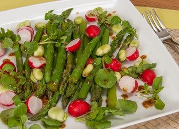 Salad of steamed asparagus with broad beans recipe | Vegetarian