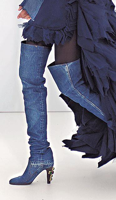 Chanel Denim Thigh-High Boots