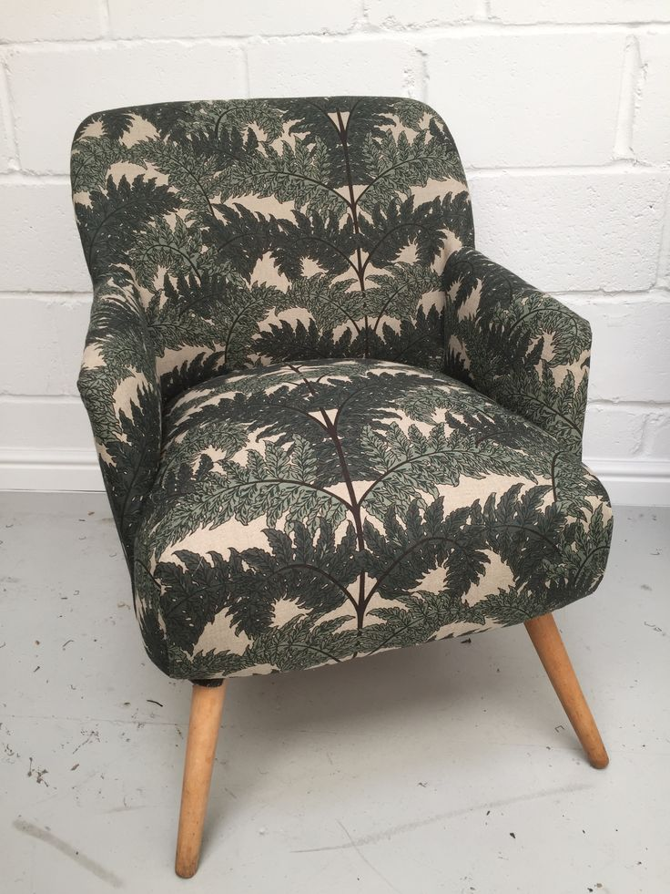 Mid Century German cocktail chair in House of Hackney Inferno linen