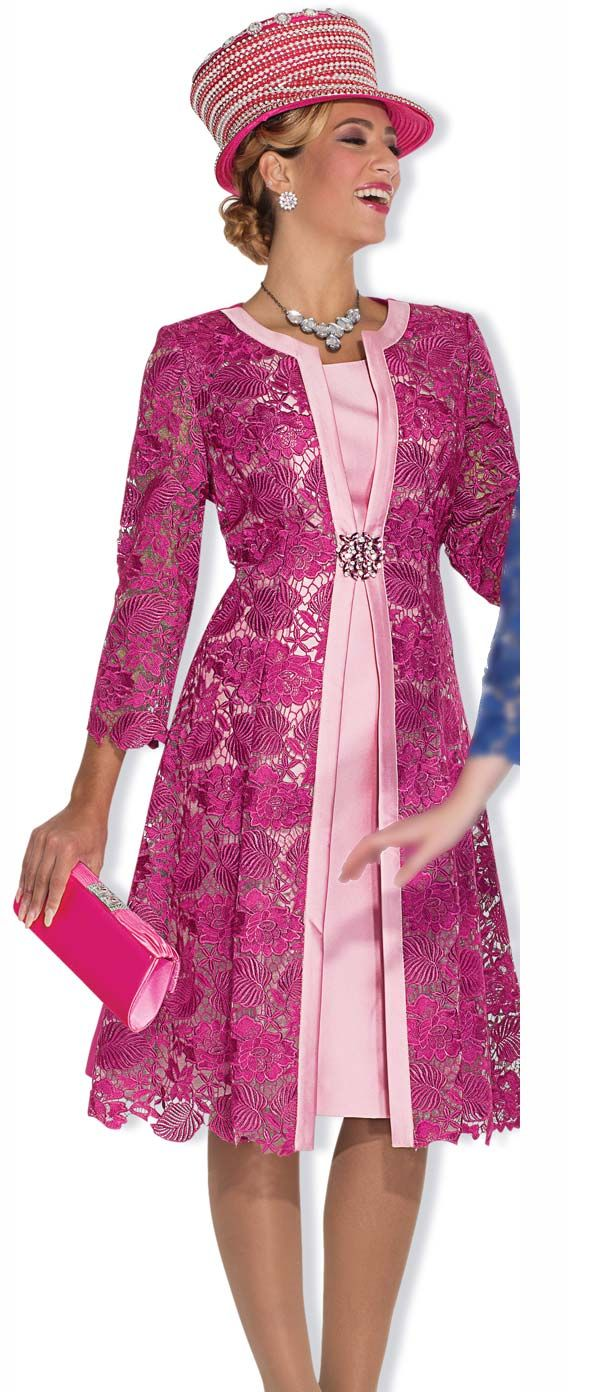 Champagne 5004-Fuchsia - Lace Dress & Jacket Suit For Women