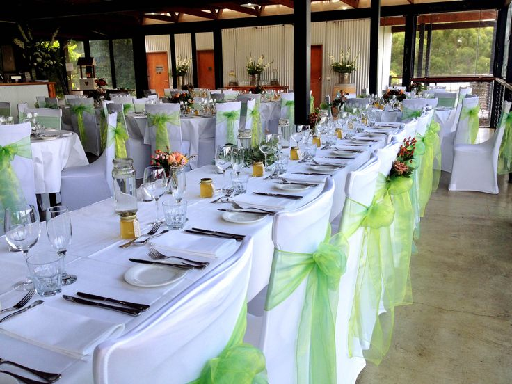 Our function room set up with green décor at Yarra Ranges Estate. Winery Wedding   Yarra Valley Wedding   Dandenong Ranges Wedding