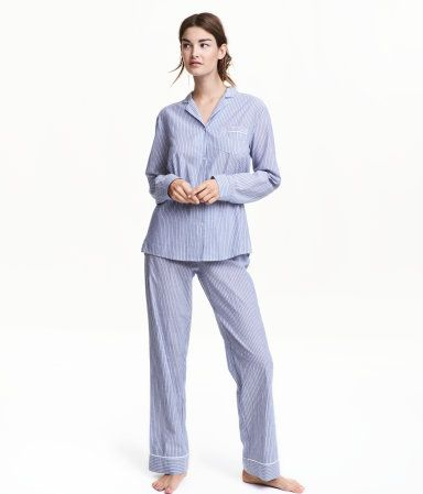 Blue/striped. Pajamas in airy, woven cotton fabric. Long-sleeved pajama shirt with collar, chest pocket, and buttons at front and at cuffs. Straight-cut