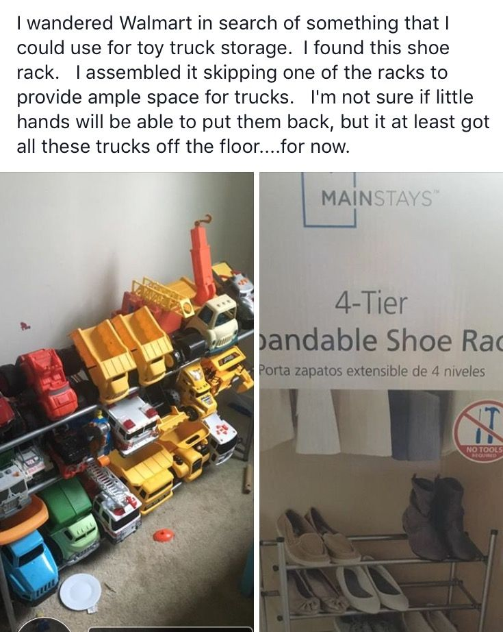 Use a shoe rack for Toy Truck storage