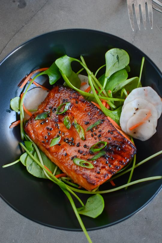 This simple miso and maple glazed salmon is healthy, delicious and ready in less than 10 minutes!   scaling back Your source of Vit D: Salmon!