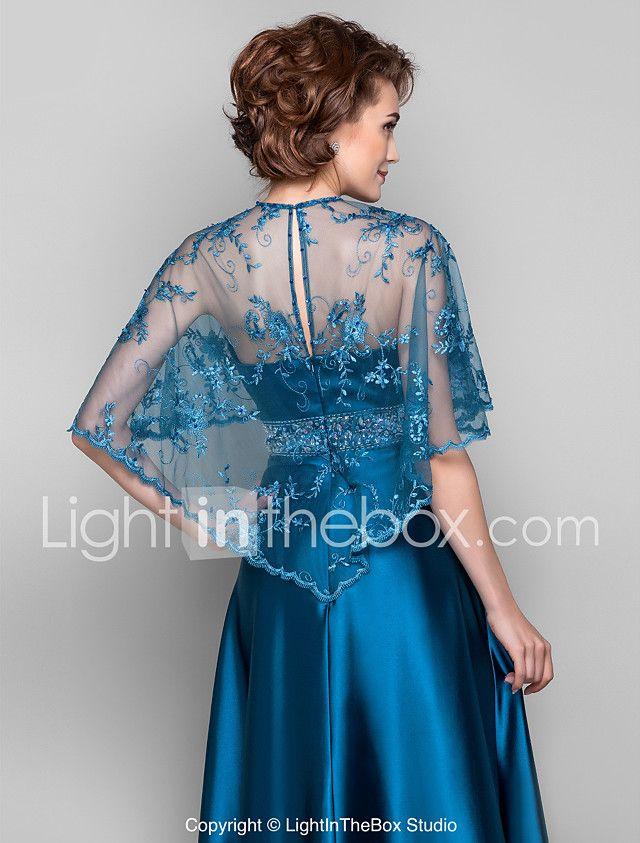 Vestido - Azul Tinta Corte Recto Barrer / cepillo tren - Escote en V Encaje/Satén Elástico 2018 - $119.99