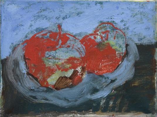 Anna Retulainen, Sarjasta kaksi omenaa, 2007-10, oil on canvas, 30 x 40 cm