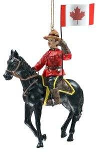 """The RCMP Musical Ride tours throughout Canada, as well as international venues, performing at approximately forty to fifty locations a year between the months of May and October. Why not celebrate your experience of seeing the Ride perform by hanging this hand painted poly-resin ornament on your tree this Christmas? 5.5""""H."""
