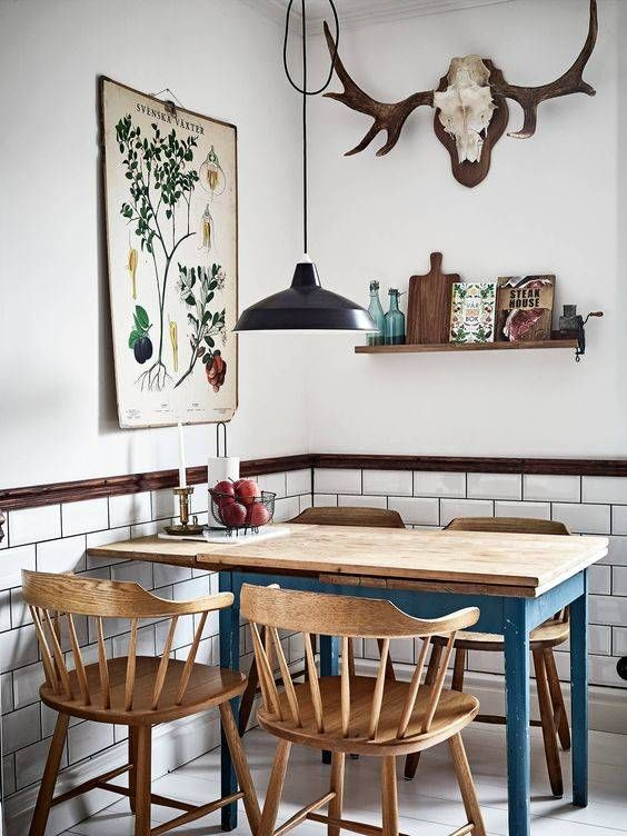 Quirky Scandinavian style kitchen dining area